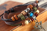leather bohemian bracelet with butterfly