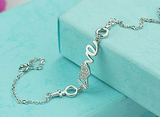 Sterling Silver Crystal Love Bracelet
