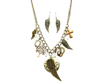 Multi Tone Charm Necklace and Earring Set