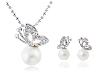 Rhinestone Butterfly Pearl Earrings and Necklace