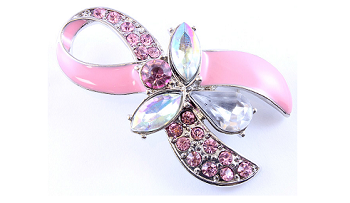 Pink Ribbon Breast Cancer Awareness Pin with Crystals