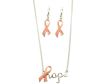 Breast Cancer Awareness Pink Ribbon and Earring Set