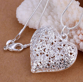 Sterling Silver Plated Necklace with Mesh Heart Pendant