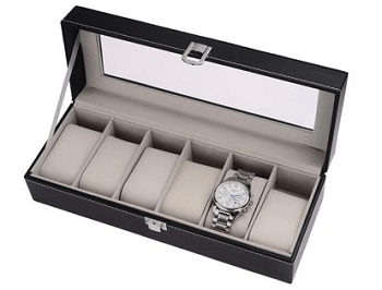 6 Slot Glass Top Watch Box