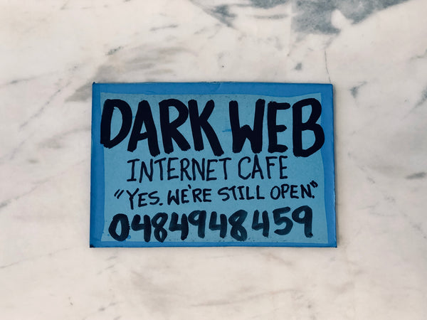 Lucas Grogan 'Dark Web Internet Cafe' business card