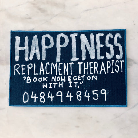 Lucas Grogan 'Happiness Replacement Therapist' business card