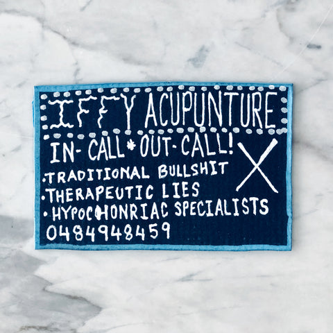 Lucas Grogan 'Iffy Acupuncture' business card
