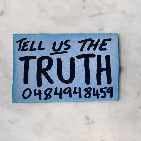 Lucas Grogan 'Tell Us the Truth' business card