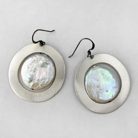 Wide circle with coin pearl earrings
