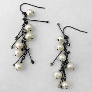 White pearl & spike earrings