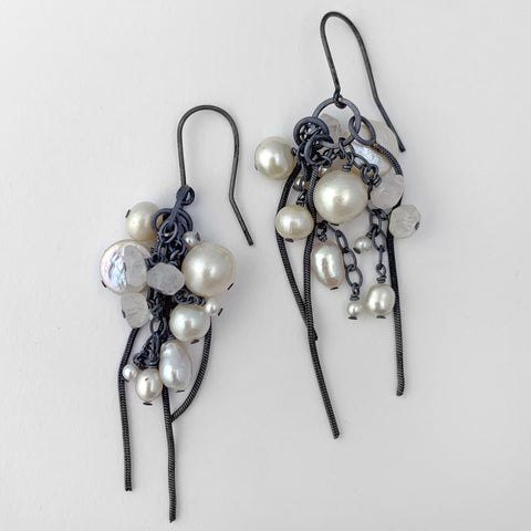 Cluster earrings with pearls and rainbow moonstone