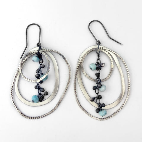 Multiple loop earrings with larimar