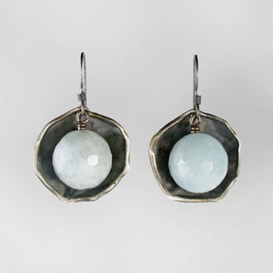 Aquamarine silver cup earrings