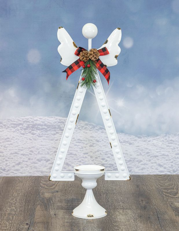 Vintage Angel Candle Holder with Plaid Bow