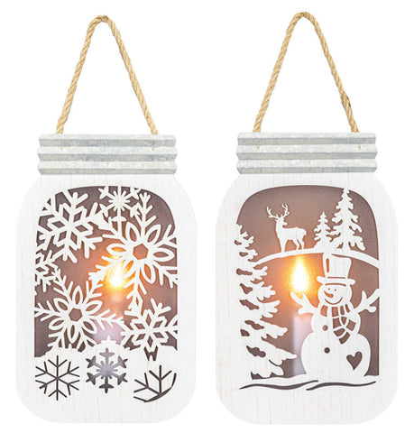 Snow Frost Flickering Light-Up Jar Hanger