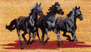 Three Horses Running Door Mat