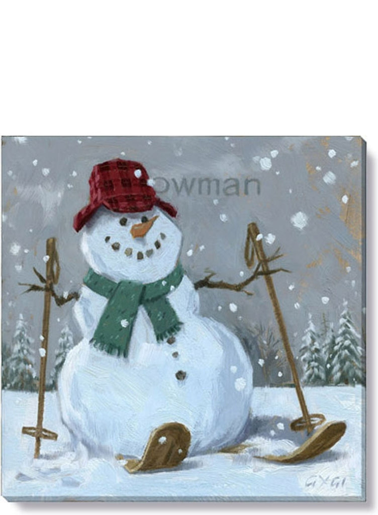 Snowman On Skis Giclee Wall Art