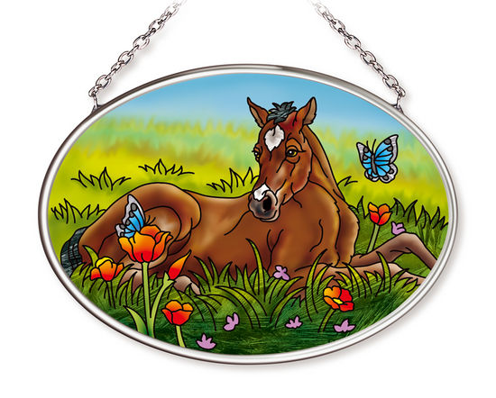 Spring Foal Small Oval Suncatcher