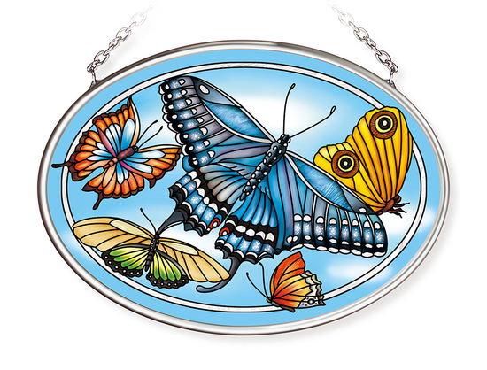 Blue Skies Butterfly Small Oval Suncatcher