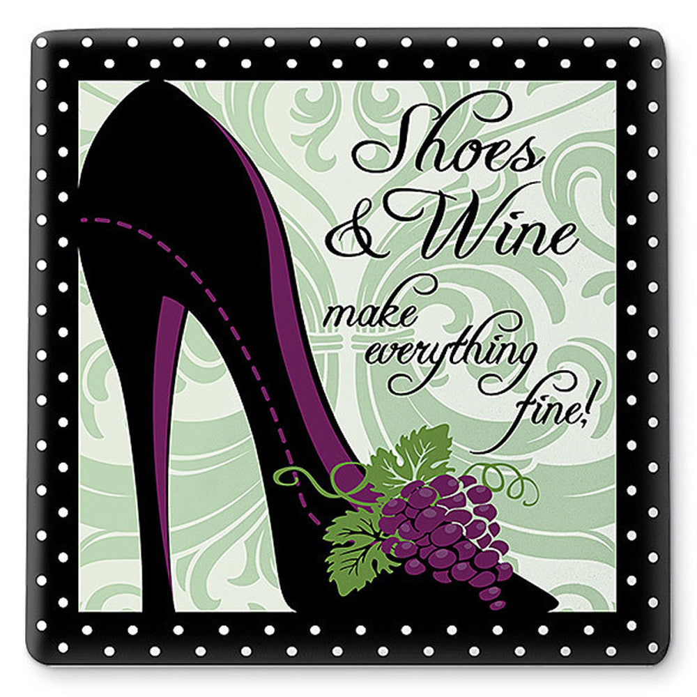 Shoes And Wine Ceramic Trivet