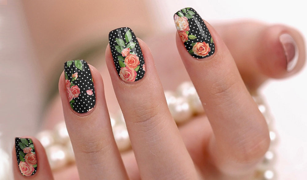 Nail Wraps - Polka Dot Rose