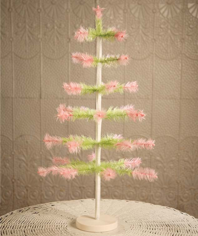 Green Feather Tree With Pink Tips