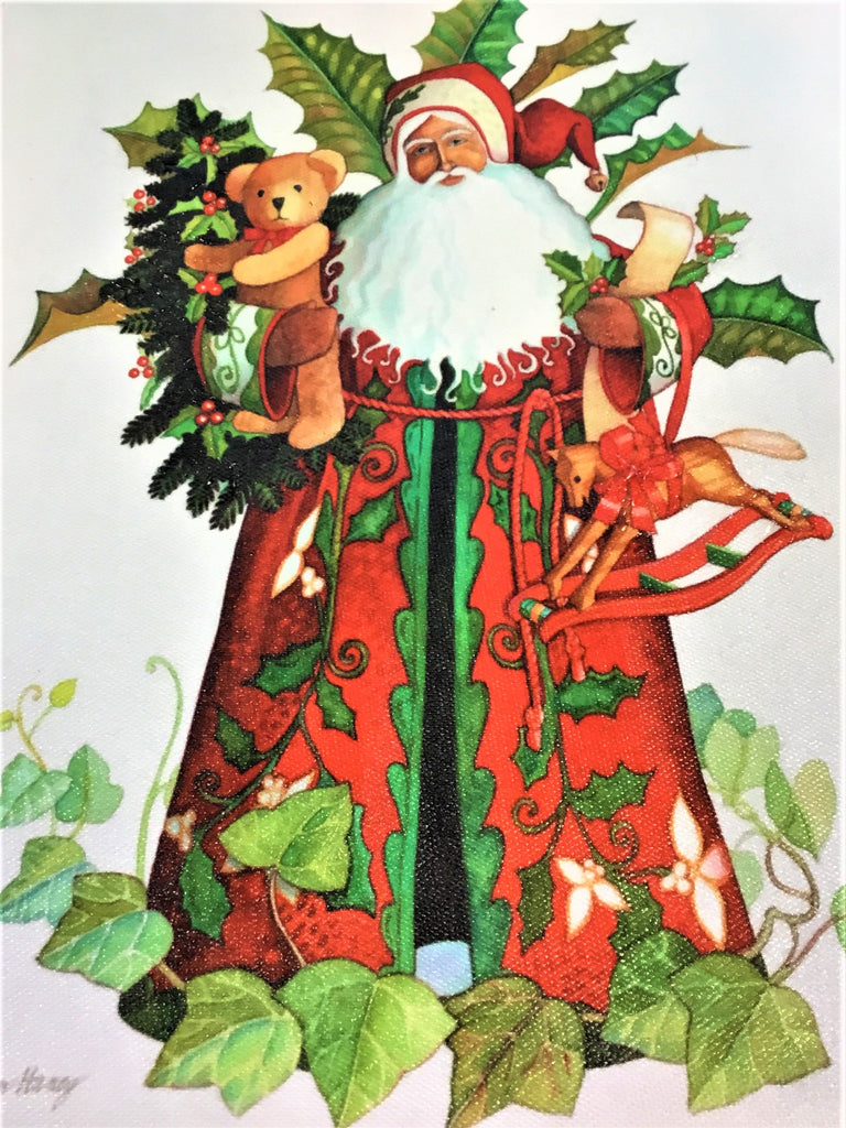 Lynn Haney Holly And Ivy Santa Art