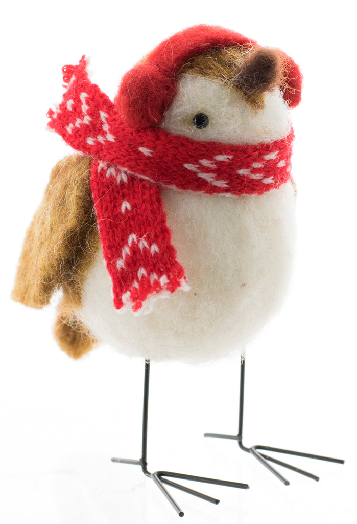 Wool Bird With Scarf And Earmuffs
