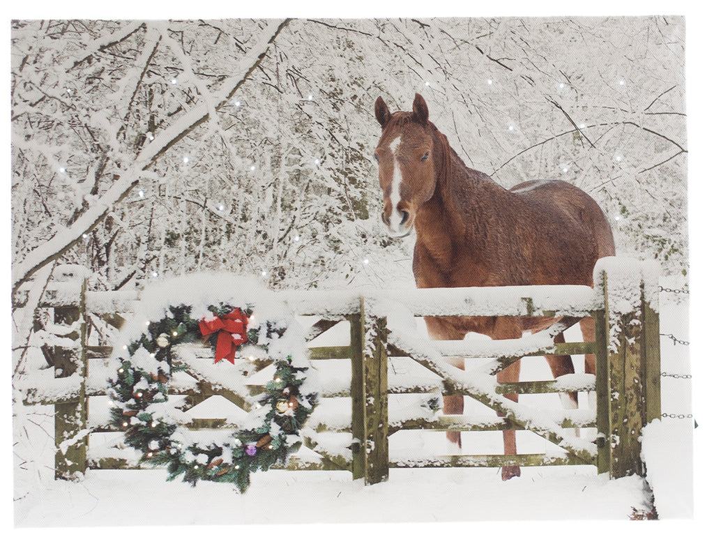 Horse With Holiday Wreath Lit Canvas