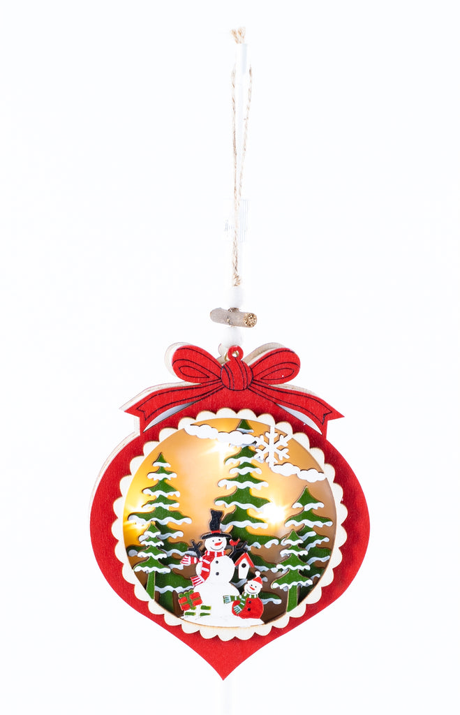 Lighted Wood 3D Snowman Ornament