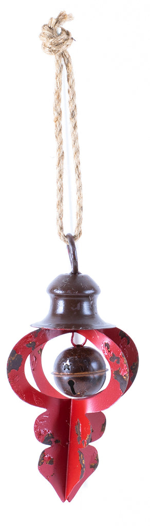 Distressed Metal Ornament With Bell