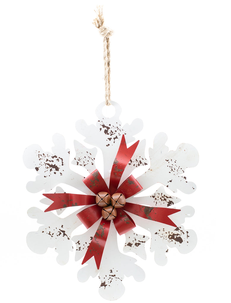 Rustic Metal Snowflake With Bells
