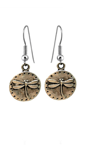 Silver Plated Copper Dragonfly Design Earrings