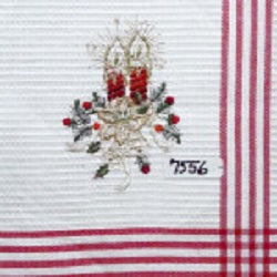 Embroidered Red Candles Tea Towel