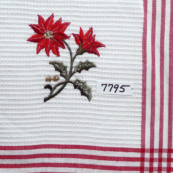 Embroidered Red Poinsettia Tea Towel
