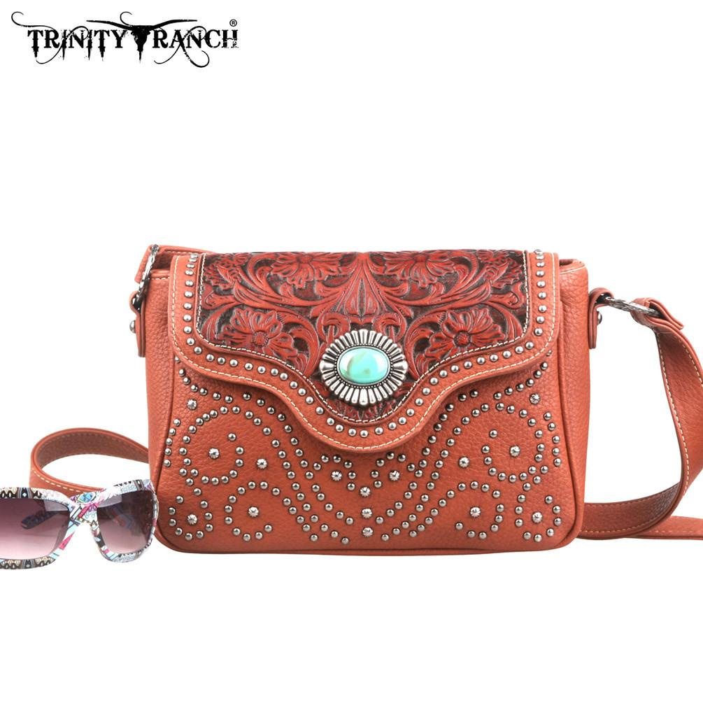 Trinity Ranch Tooled Design Messenger Bag