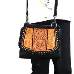 Trinity Ranch Tooled Leather Collection Crossbody - Orange