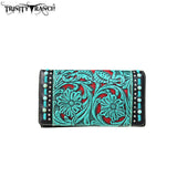 Trinity Ranch Tooled Design Collection Secretary Style Wallet - Turquoise