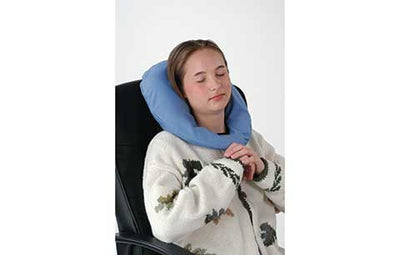 Neck pillow for airplane travel, car, or desk.