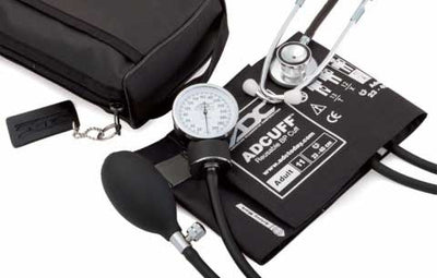 768-670 Series Pro's Combo II Pocket Adult Black Aneroid Sphygmomanometer / Scope by American Diagnostic Corporation ADC