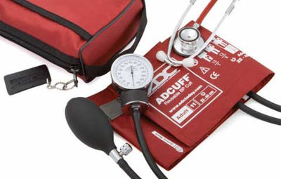 768-670 Series Pro's Combo II Pocket Adult Red Aneroid Sphygmomanometer / Scope by American Diagnostic Corporation ADC