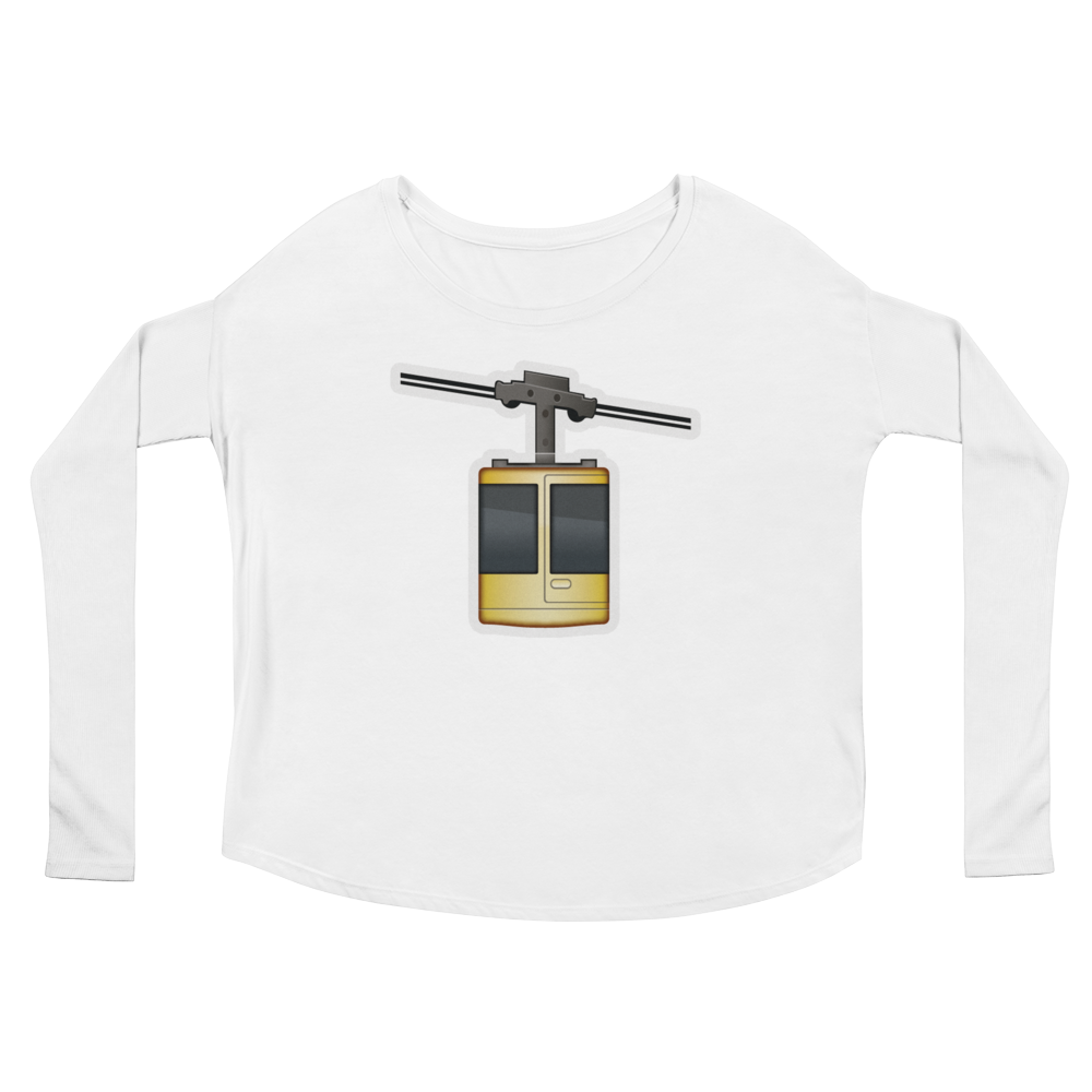 Women's Emoji Long Sleeve T-Shirt - Aerial Tramway-Just Emoji