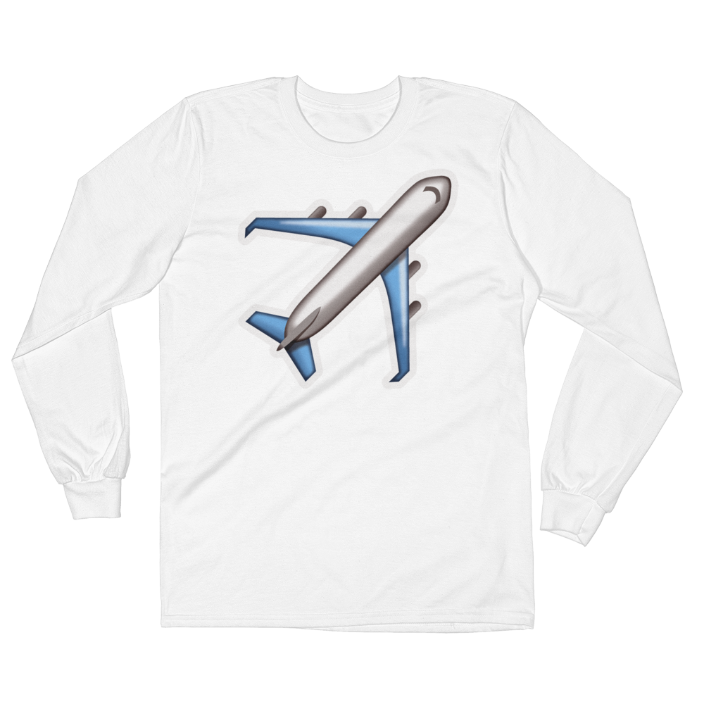Men's Emoji Long Sleeve T-Shirt - Airplane-Just Emoji