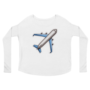 Women's Emoji Long Sleeve T-Shirt - Airplane-Just Emoji