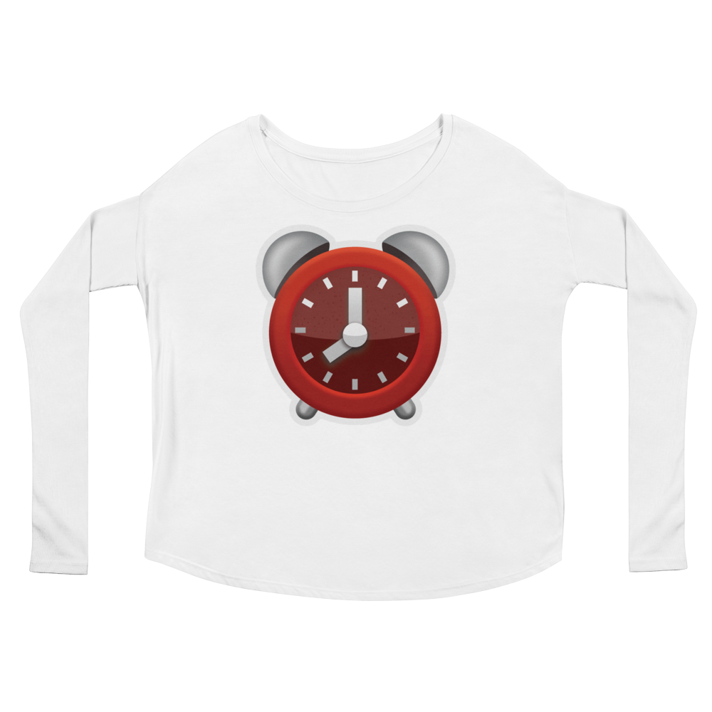 Women's Emoji Long Sleeve T-Shirt - Alarm Clock-Just Emoji