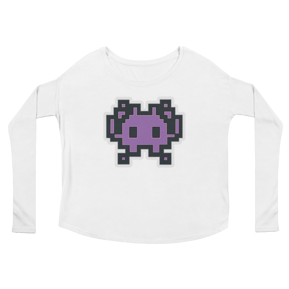 Women's Emoji Long Sleeve T-Shirt - Alien Monster-Just Emoji