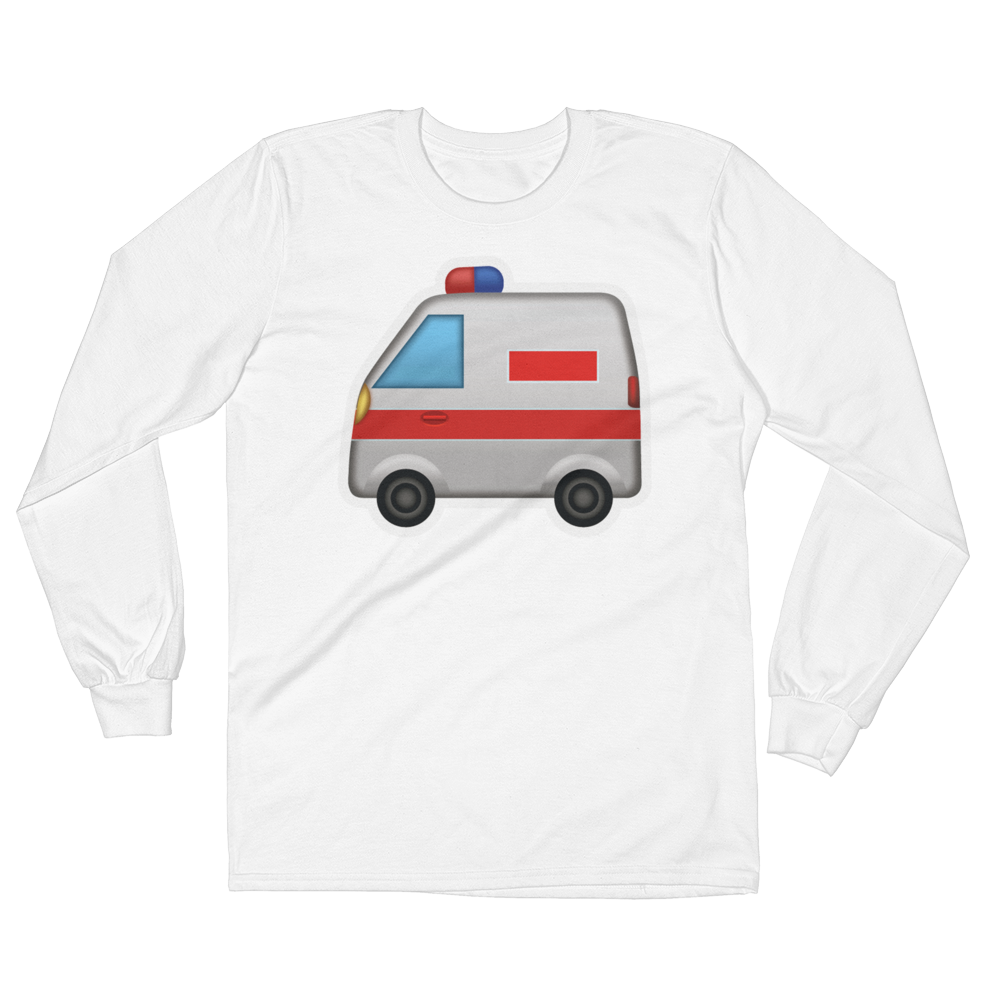 Men's Emoji Long Sleeve T-Shirt - Ambulance-Just Emoji