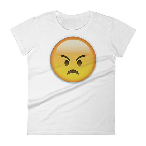 Women's Emoji T-Shirt - Angry Face-Just Emoji