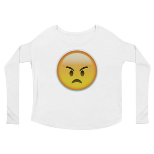 Women's Emoji Long Sleeve T-Shirt - Angry Face-Just Emoji