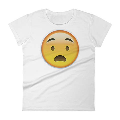 Women's Emoji T-Shirt - Anguished Face-Just Emoji